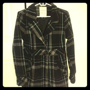 Black and teal pea coat